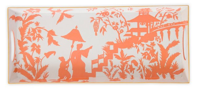 "18"" Iron Tray, Coral Toile"