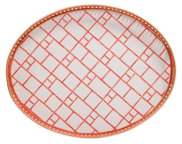 """19"""" Oval Iron Tray, Paprika Bamboo"""