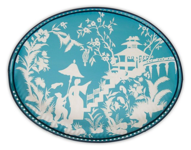 """19"""" Oval Iron Tray, Teal Toile"""
