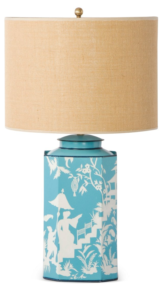 Octo Tea Can Table Lamp, Teal Toile
