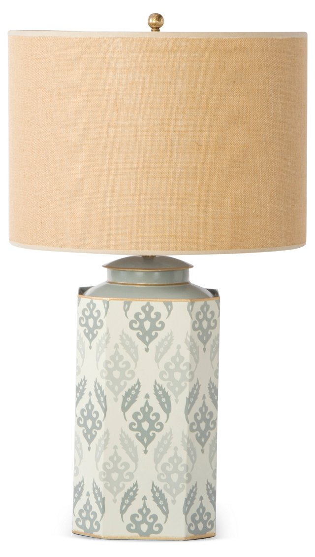 Octo Tea-Can Table Lamp, Gray Suzani