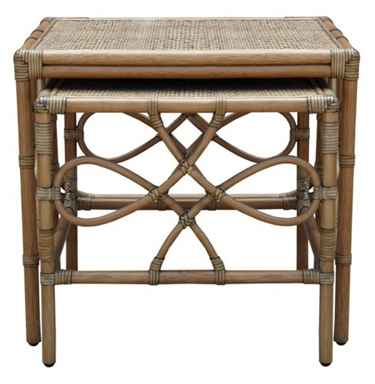 Olympia Rattan Nesting Tables, Set of 2