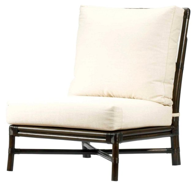 Olympia Rattan Slipper Chair, Clove