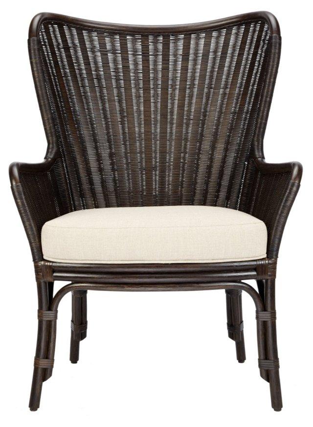 Lara Rattan Wing Chair, Clove/Ivory