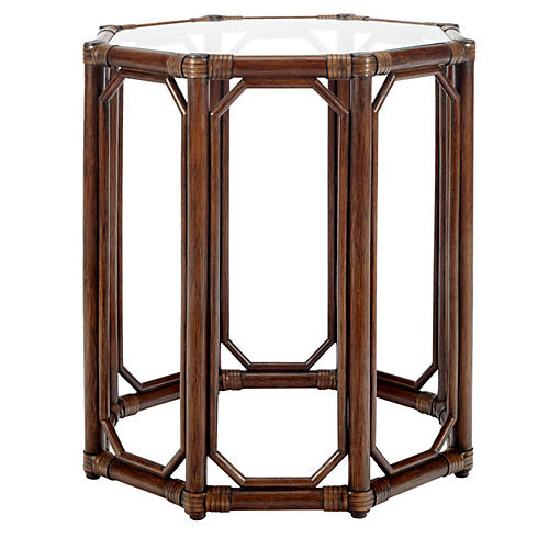Eloise Rattan Side Table, Cinnamon