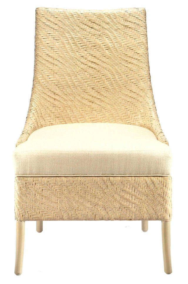 Vivienne Rattan Dining Chair, Ivory