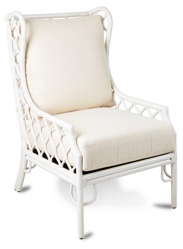 Harper Rattan Wingback Chair, Ivory
