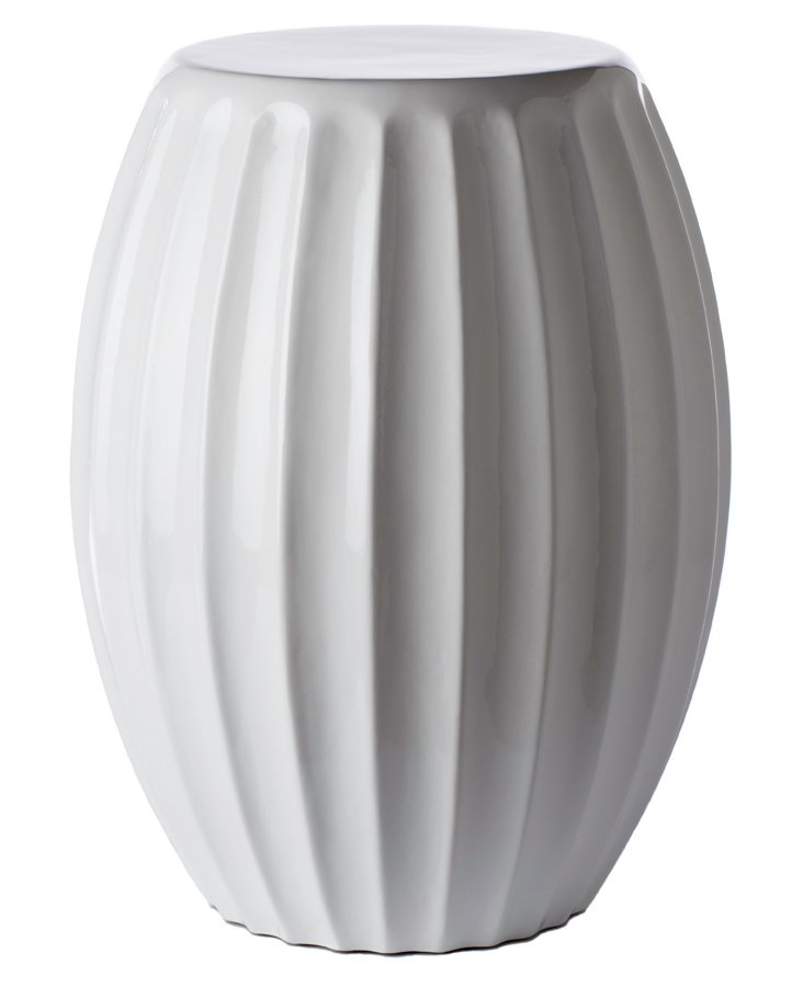 Mila Fluted Garden Stool, White