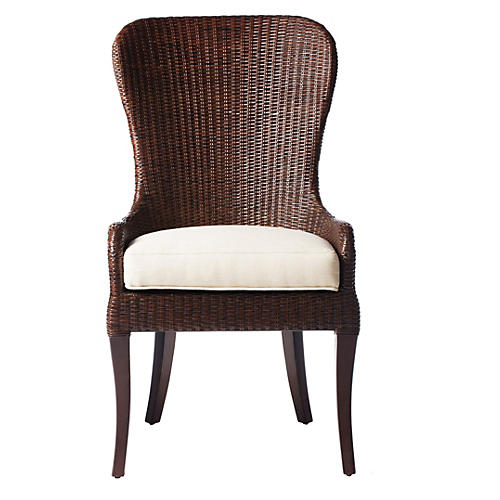 Eleanor Rattan Side Chair, Clove/Ivory