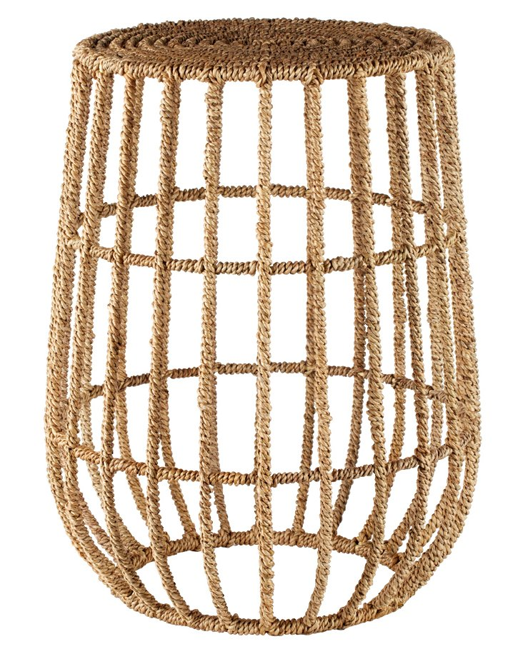"""Luna 12"""" Round Jute Side Table, Natural"""
