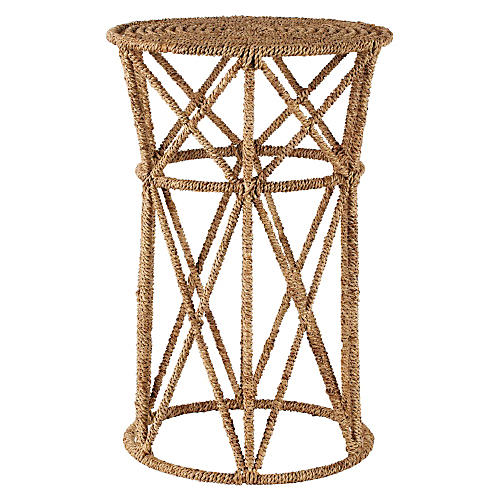 "Luna 13"" Round Jute Side Table, Natural"