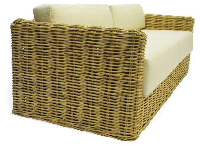"Isabella 85"" Rattan Sofa, Natural"