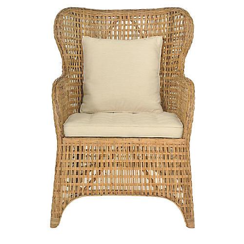 Casablanca Wingback Chair, Natural