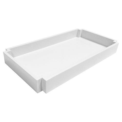 Deco Towel Tray, White