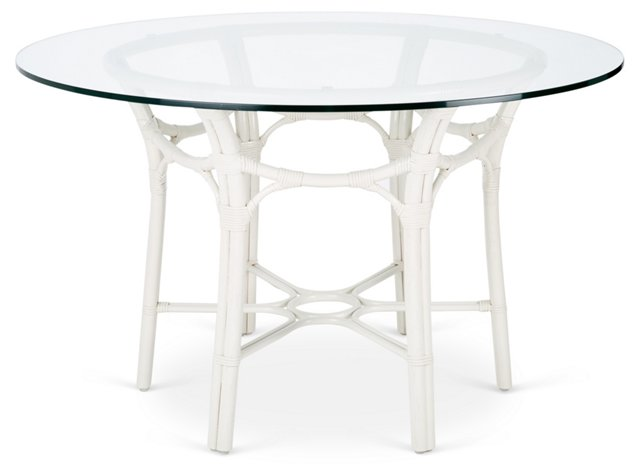 "Clementina 48"" Rattan Round Dining Table, White"