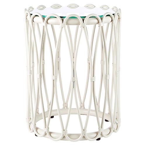 "Ella 16"" Round Rattan Side Table, White"