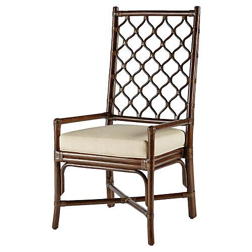 Harper Rattan Armchair, Clove/Ivory