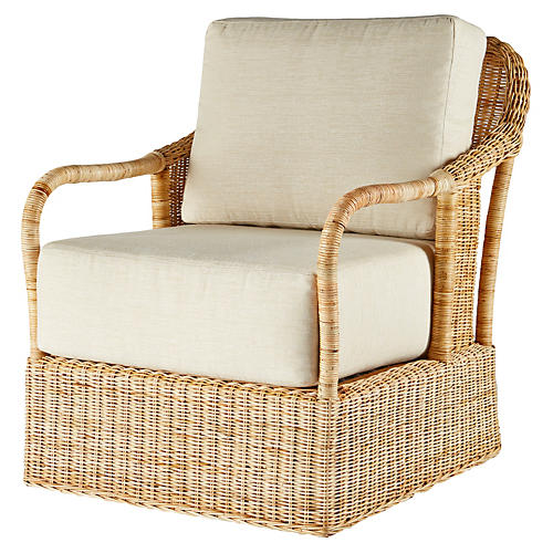 Desmona Rattan Lounge Chair, Natural