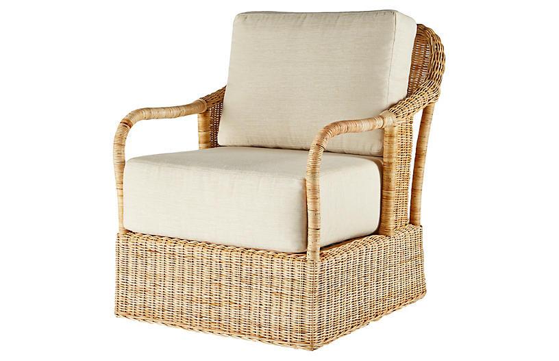 Desmona Rattan Lounge Chair, Natural