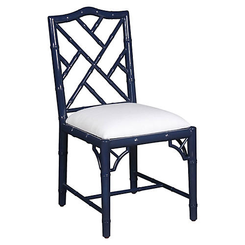 Simona Bamboo Side Chair, Navy