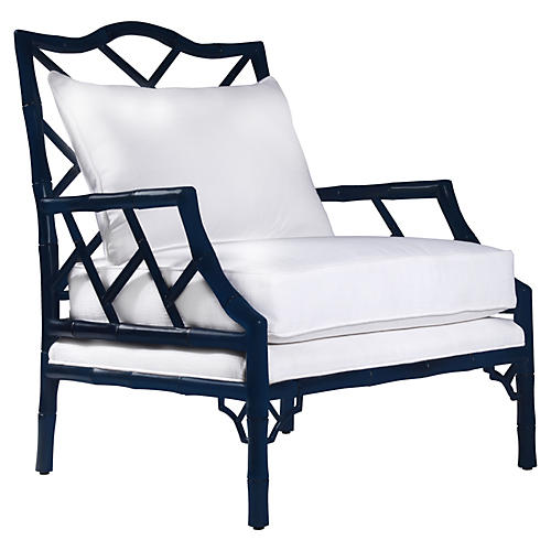 Micah Lounge Chair, Navy