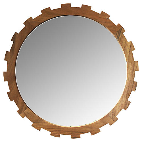 "Sia 24"" Wall Mirror, Teak"