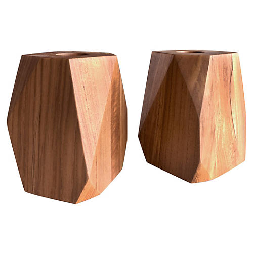 S/2 Large Prism Teakwood Votive Holders