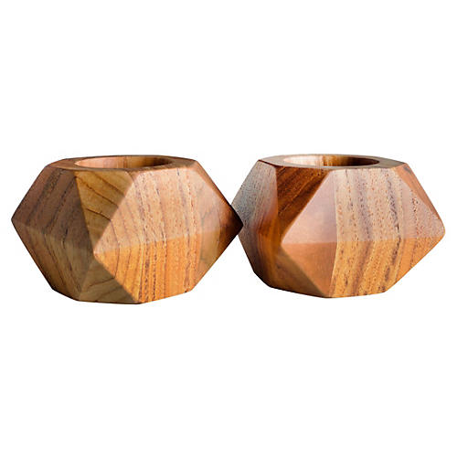 S/2 Small Prism Teakwood Votive Holders