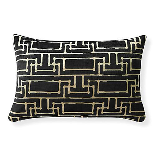 Yvan Geo Velvet 24x16 Pillow, Black