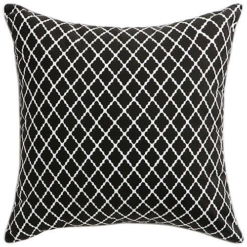Antiqued Lattice 22x22 Pillow, Black