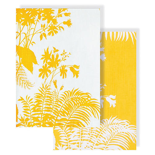 Asst. of 2 Floral Tea Towels, Yellow