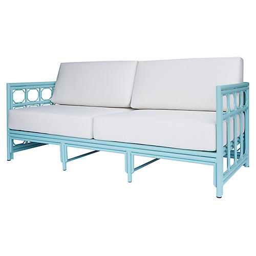 Regeant Outdoor Sofa, Blue Sunbrella