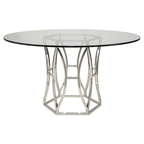 """Shay 54"""" Dining Table, Silver"""
