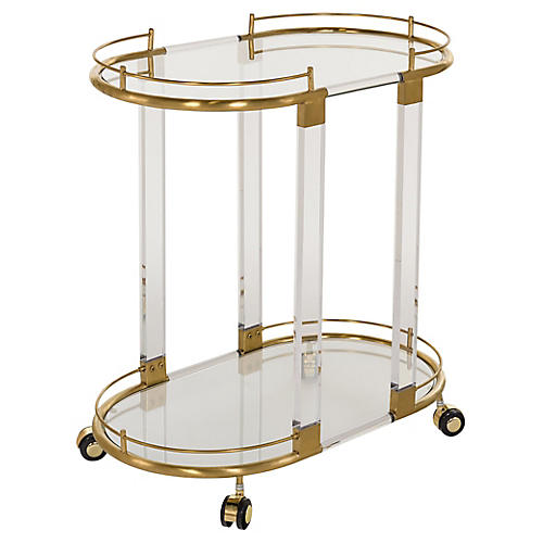 Kenwich Bar Cart, Clear/Gold