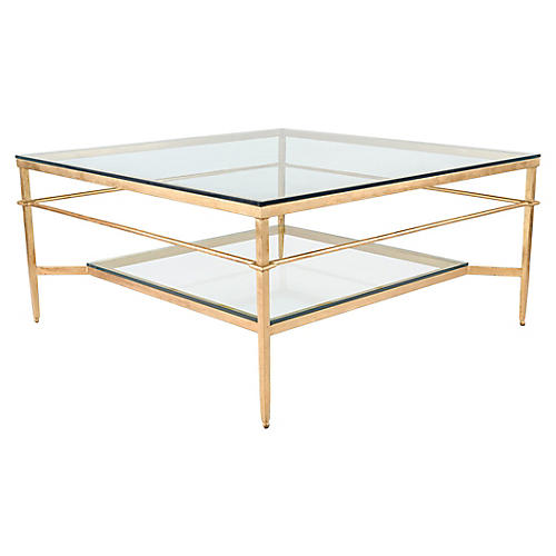 Mieka Glass Coffee Table, Gold Leaf