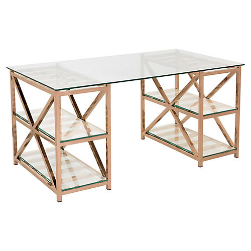 """Nelson 63"""" Glass Desk, Rose Gold"""