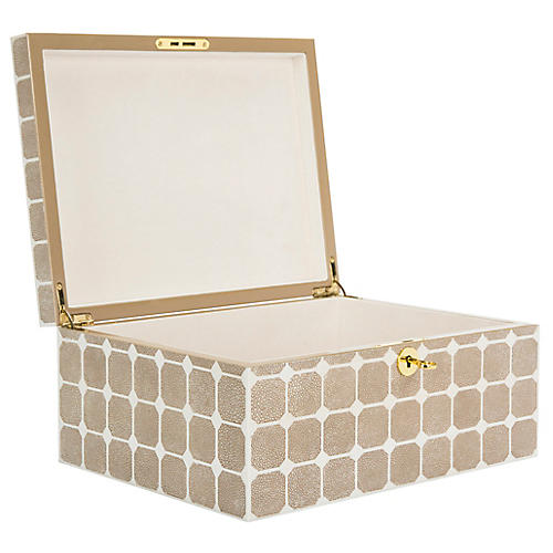 """12.6"""" Neiva Faux Shagreen Box, Beige"""
