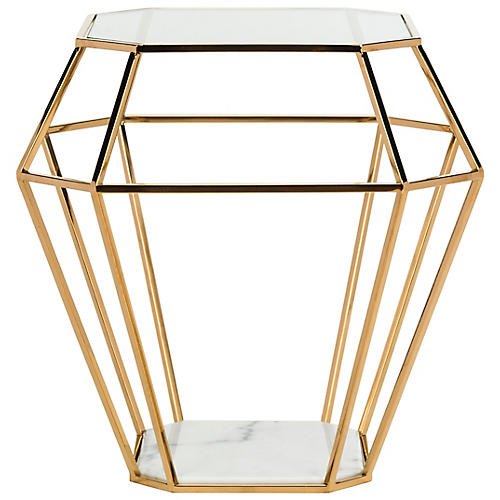 Abena Side Table, Gold/Brass