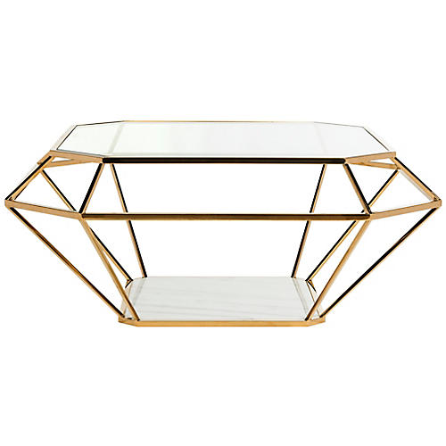 Abena Coffee Table, Gold/White