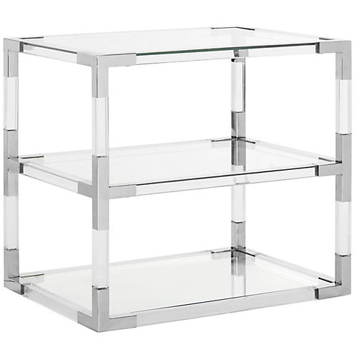 Louisa Side Table, Polished Silver