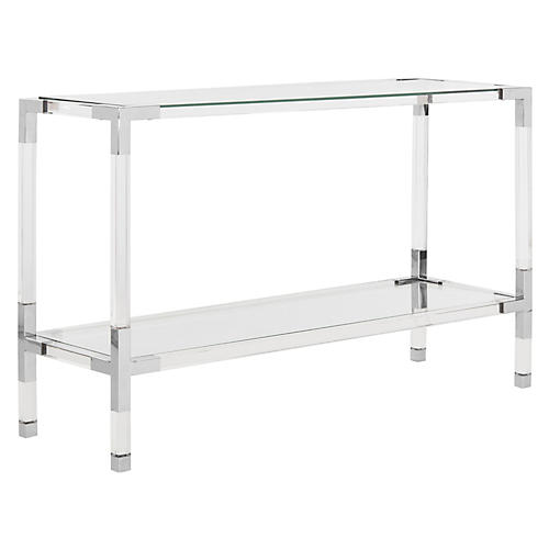 Arverne Console, Polished Silver
