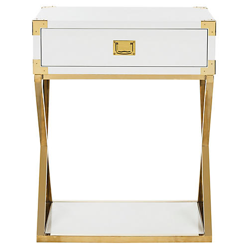 Aisa Nightstand, White/Gold