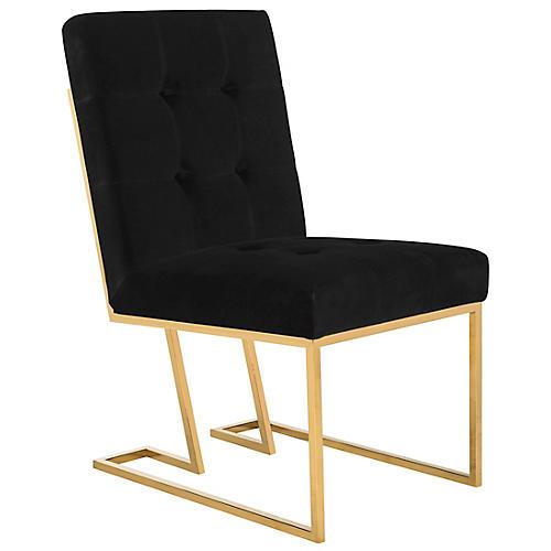 Morrison Side Chair, Black Velvet