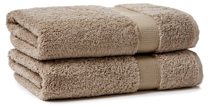 S/2 Candido Hand Towels, Taupe