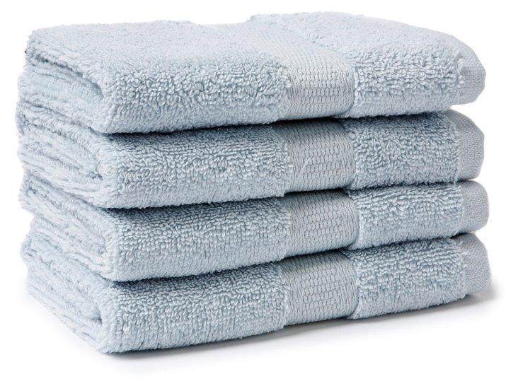 S/4 Candido Washcloths, Ice Blue