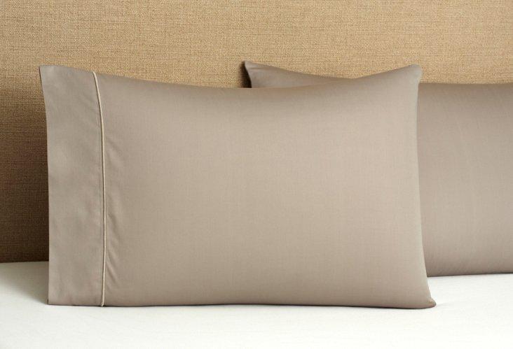 S/2 Regency Solid  Pillowcases, Gray