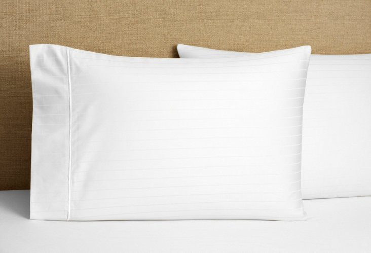 S/2 Regency Stripe Pillowcases, White
