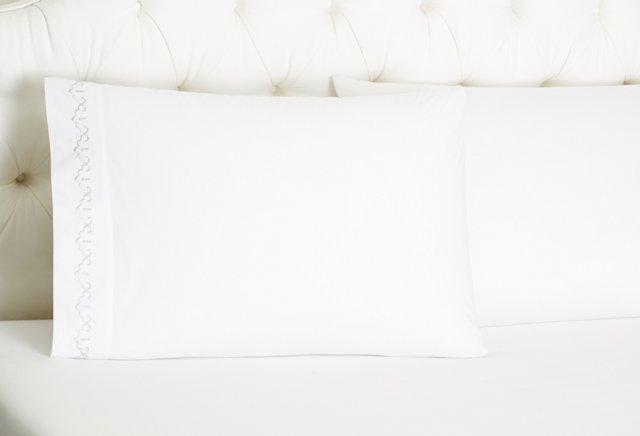 S/2 Sarah Pillowcases, White/Gray