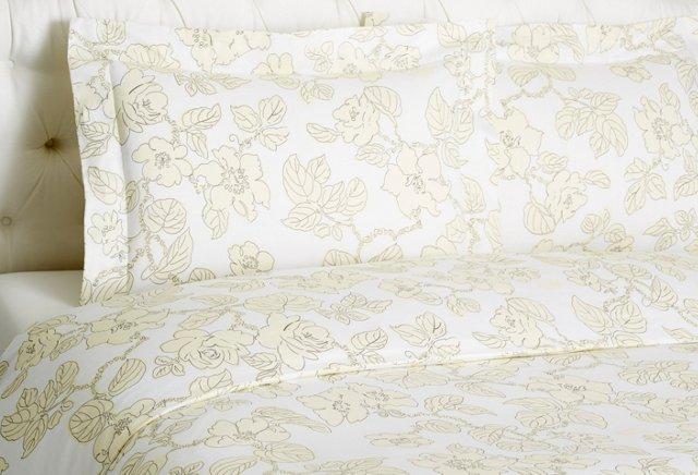 Floral Duvet Set, Ivory