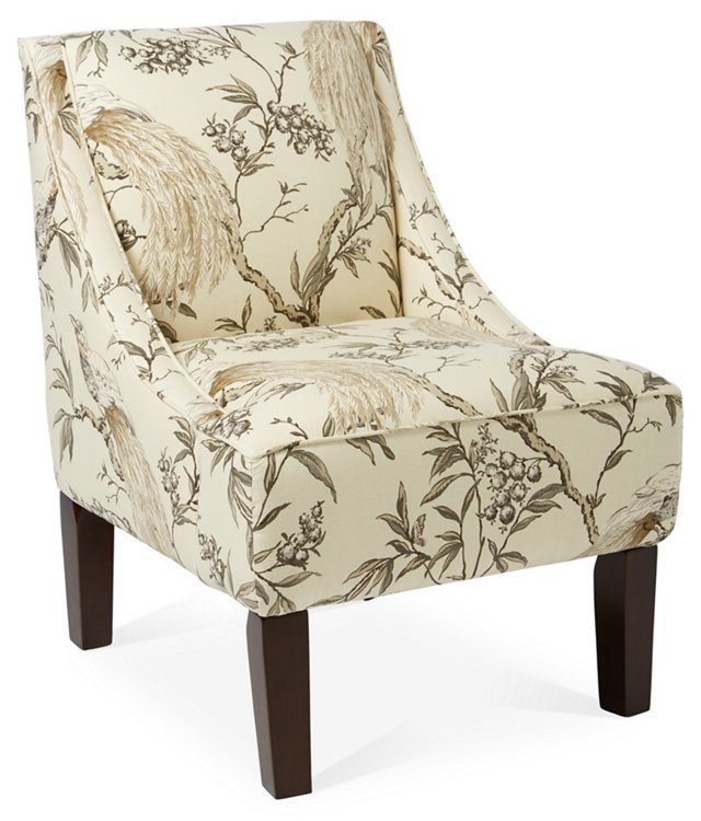 Fletcher Swoop-Arm Chair, Ivory/Charcoal